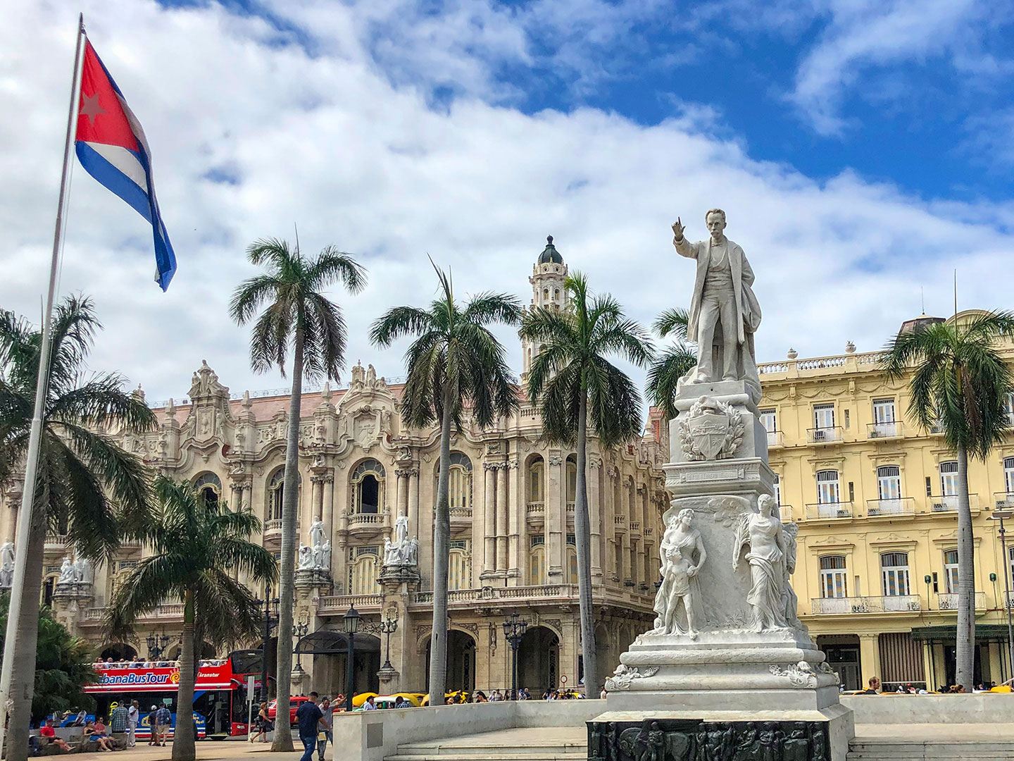 Parque Central with the cuban flag in Havana