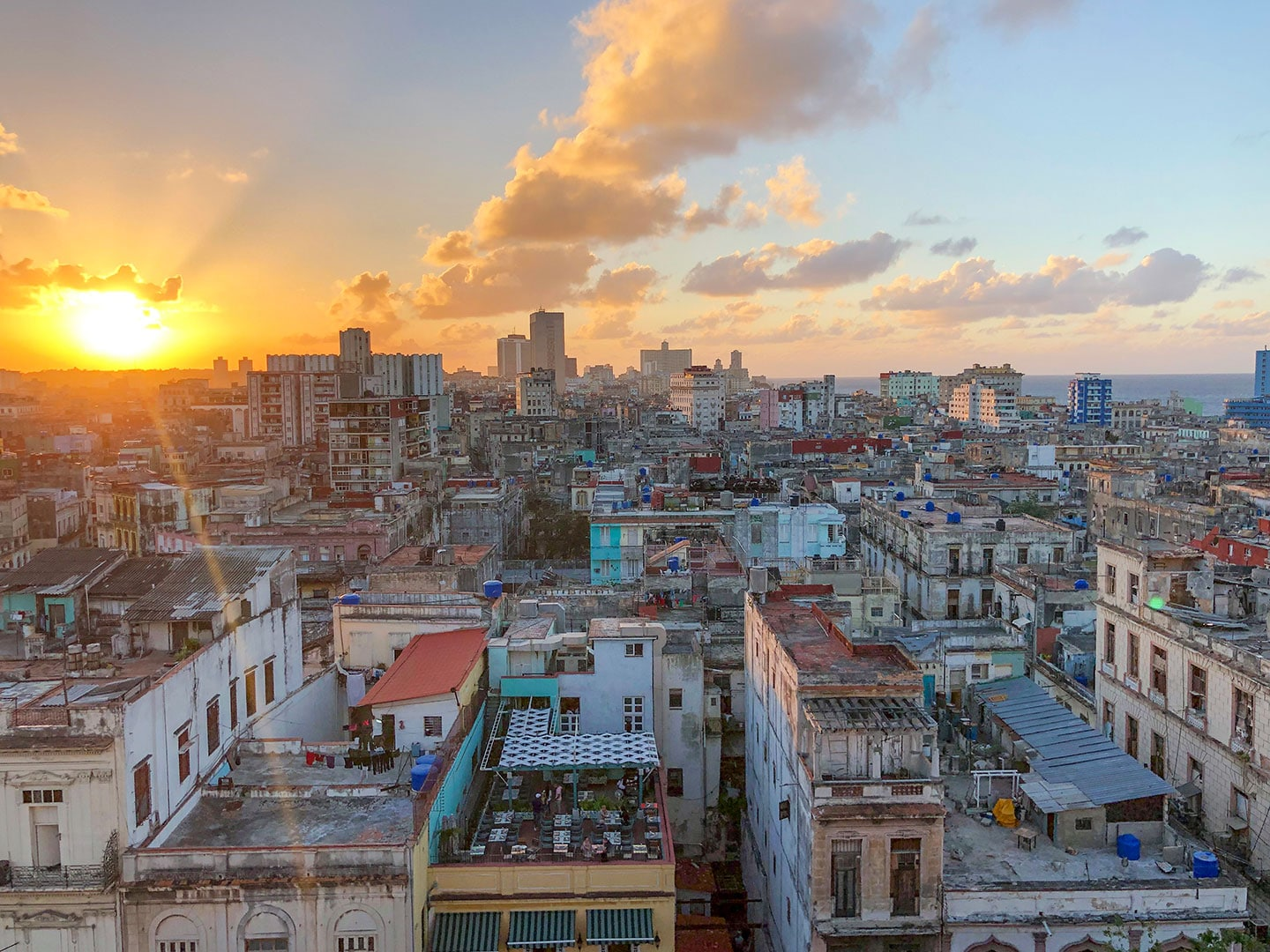 View of the Havana from the top at sunset on a sunny day