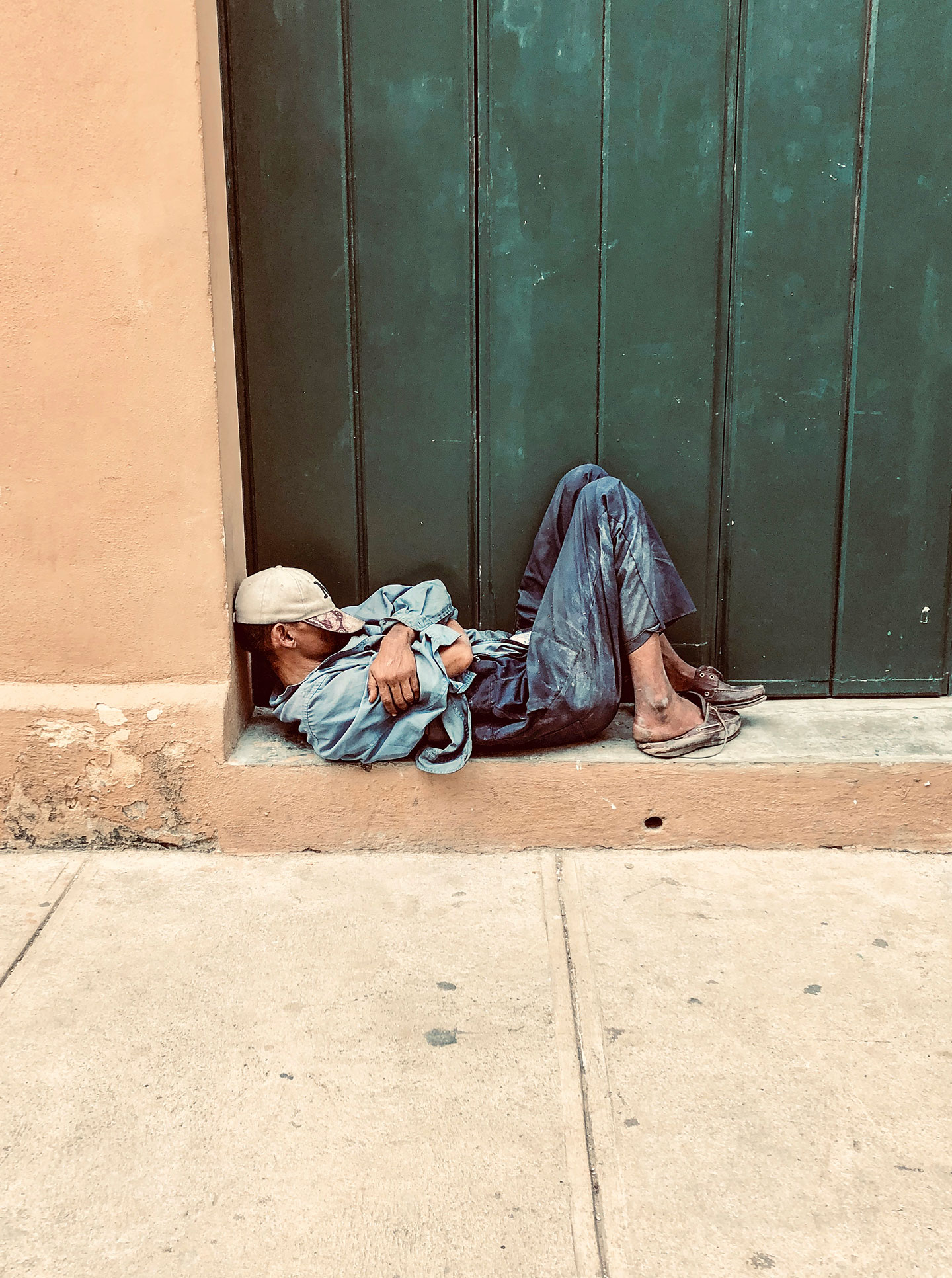 Homeless sleeping on the street in Havana, Cuba