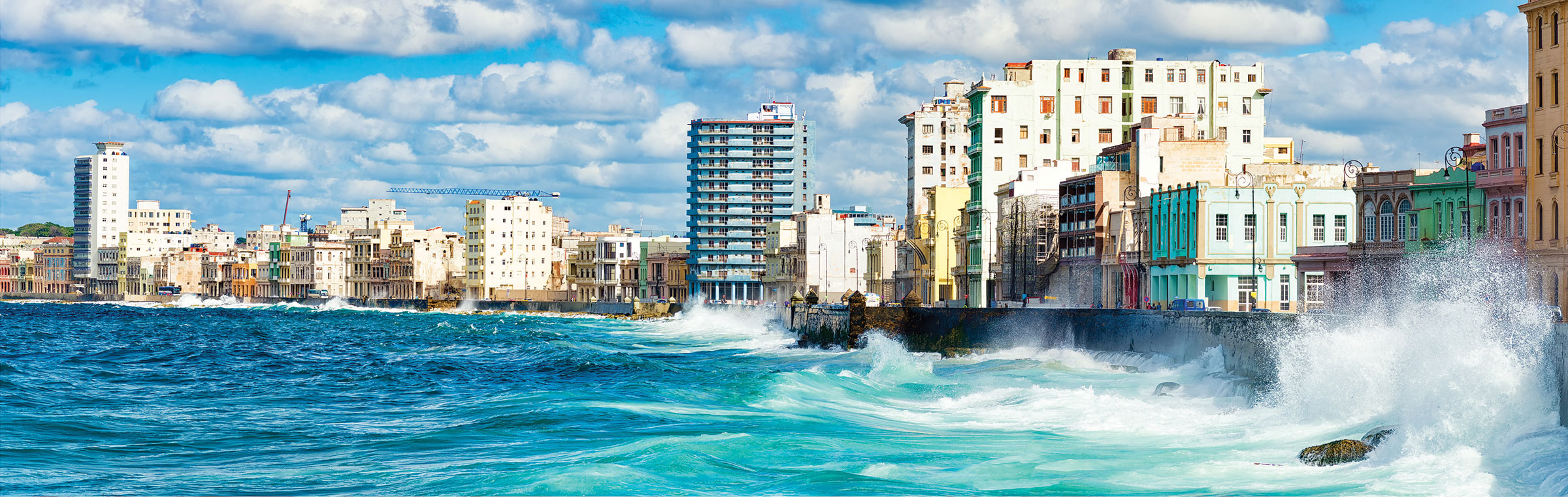 View of the waves and the coastline of the Havana from the malecon