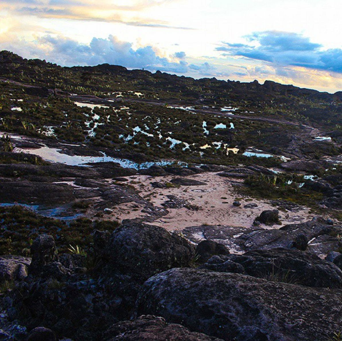 View of the top of the Roraima at sunset