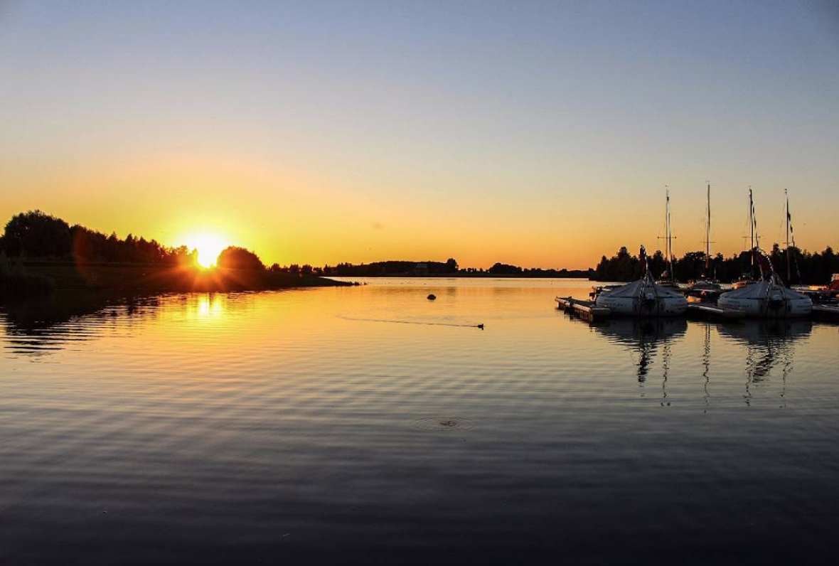 Sunset at the harbor in Xanten, Germany