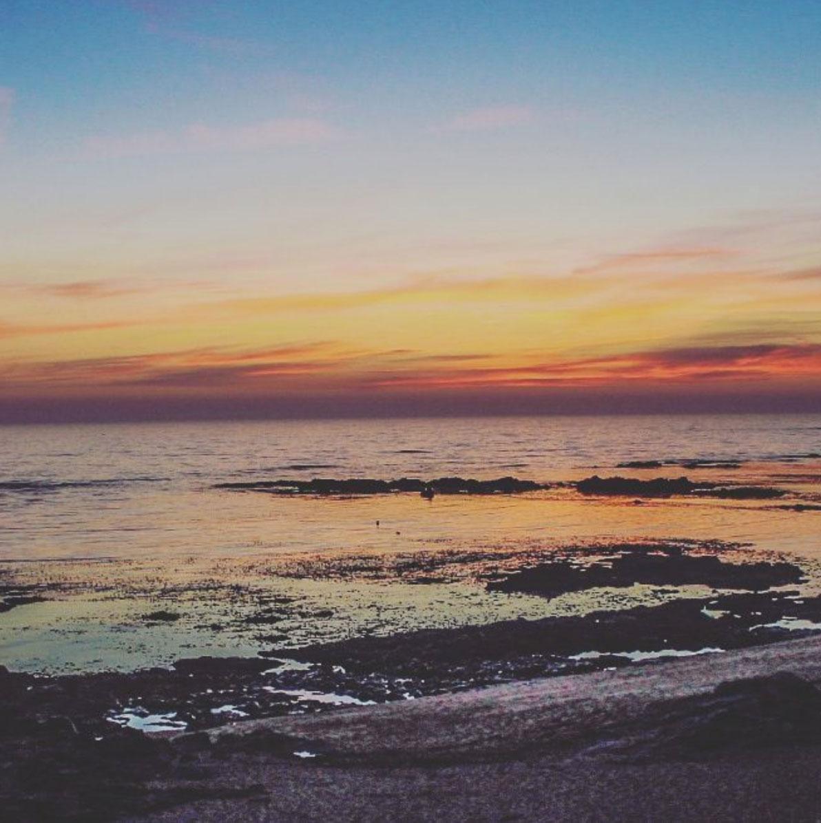 Sunset at the beach of Vila Cha, Porto