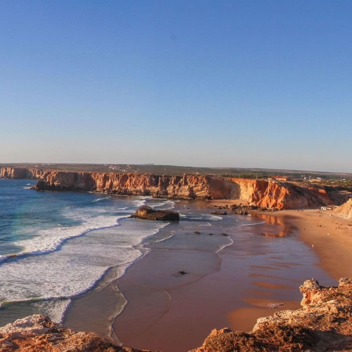 View of the beach from the top of the risk in Algarve, Portugal