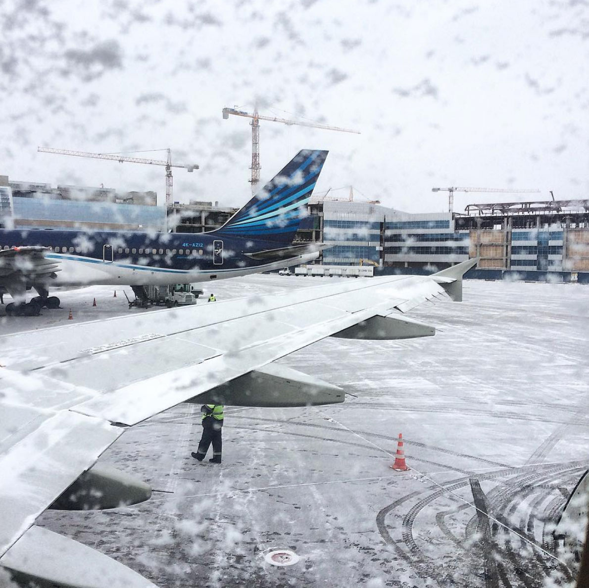 Picture of the snowy airport in Moscow, Russia