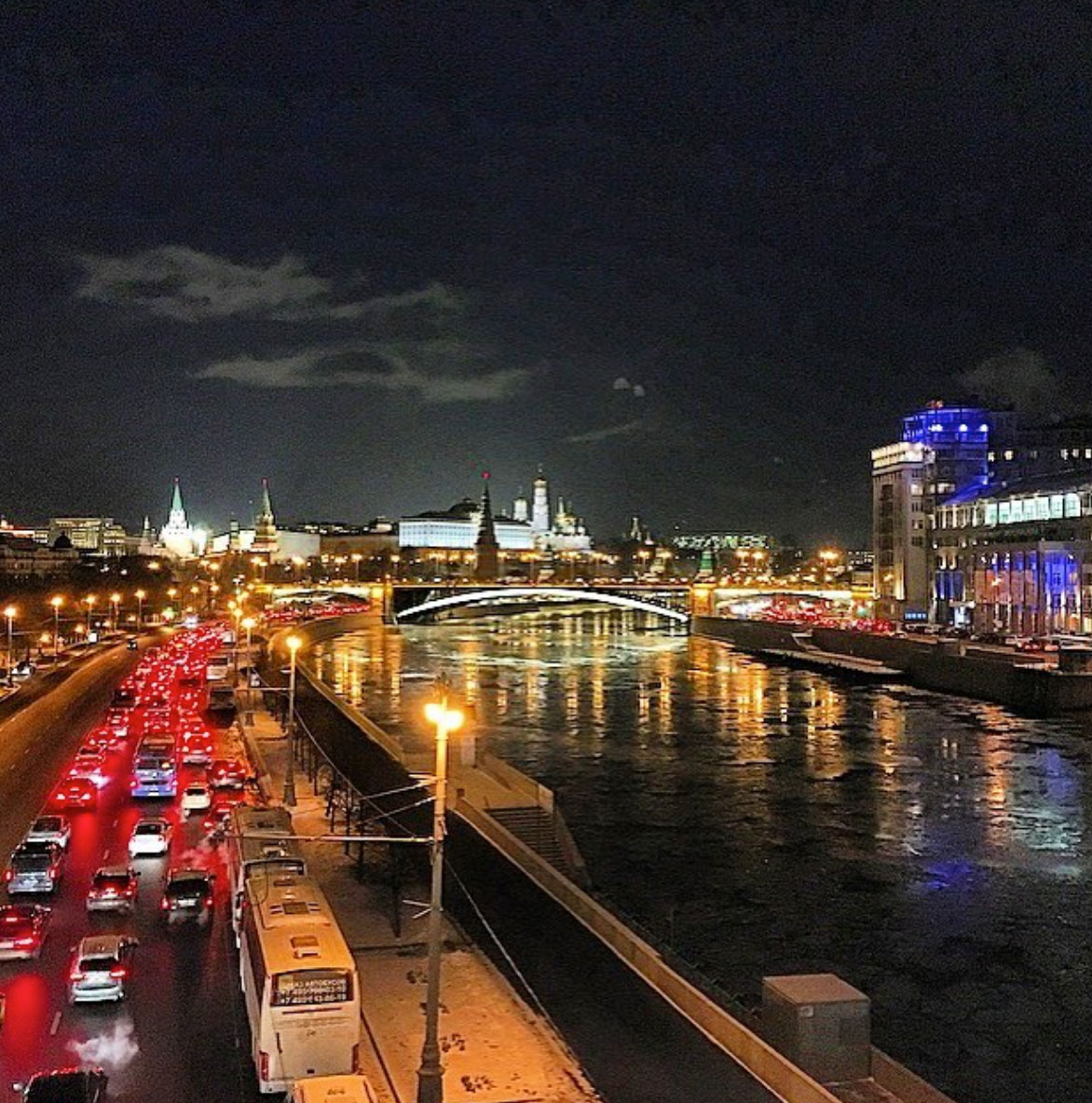Panoramic view of the river and bridge in Moscow, Russia