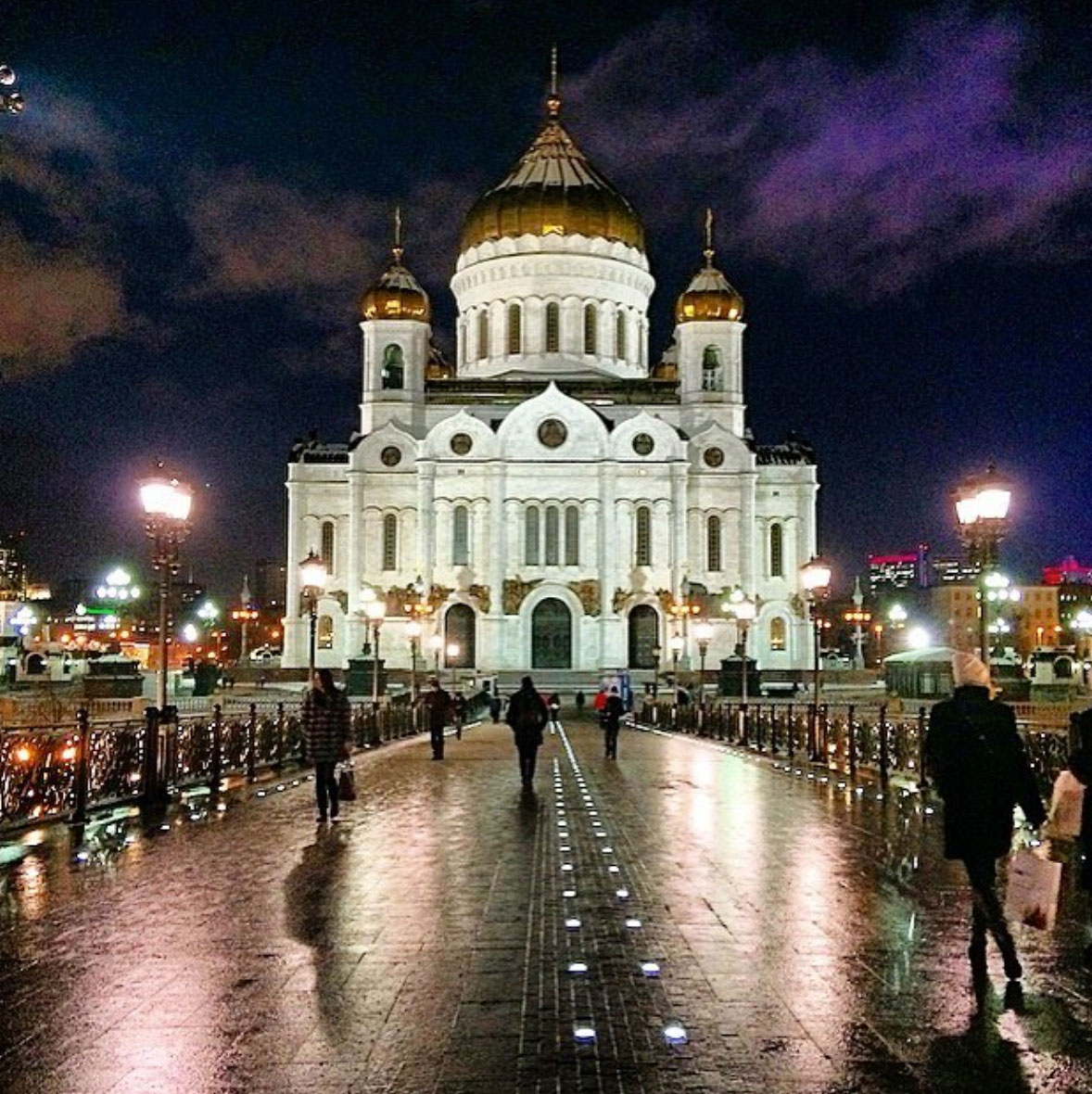 Picture of the Cathedral of Moscow at night