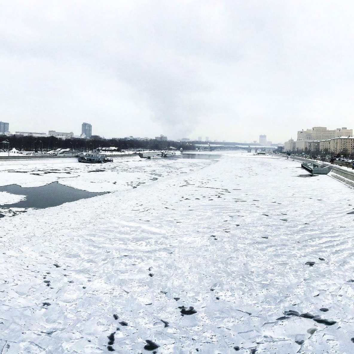 Frozen river in Moscow, Russia