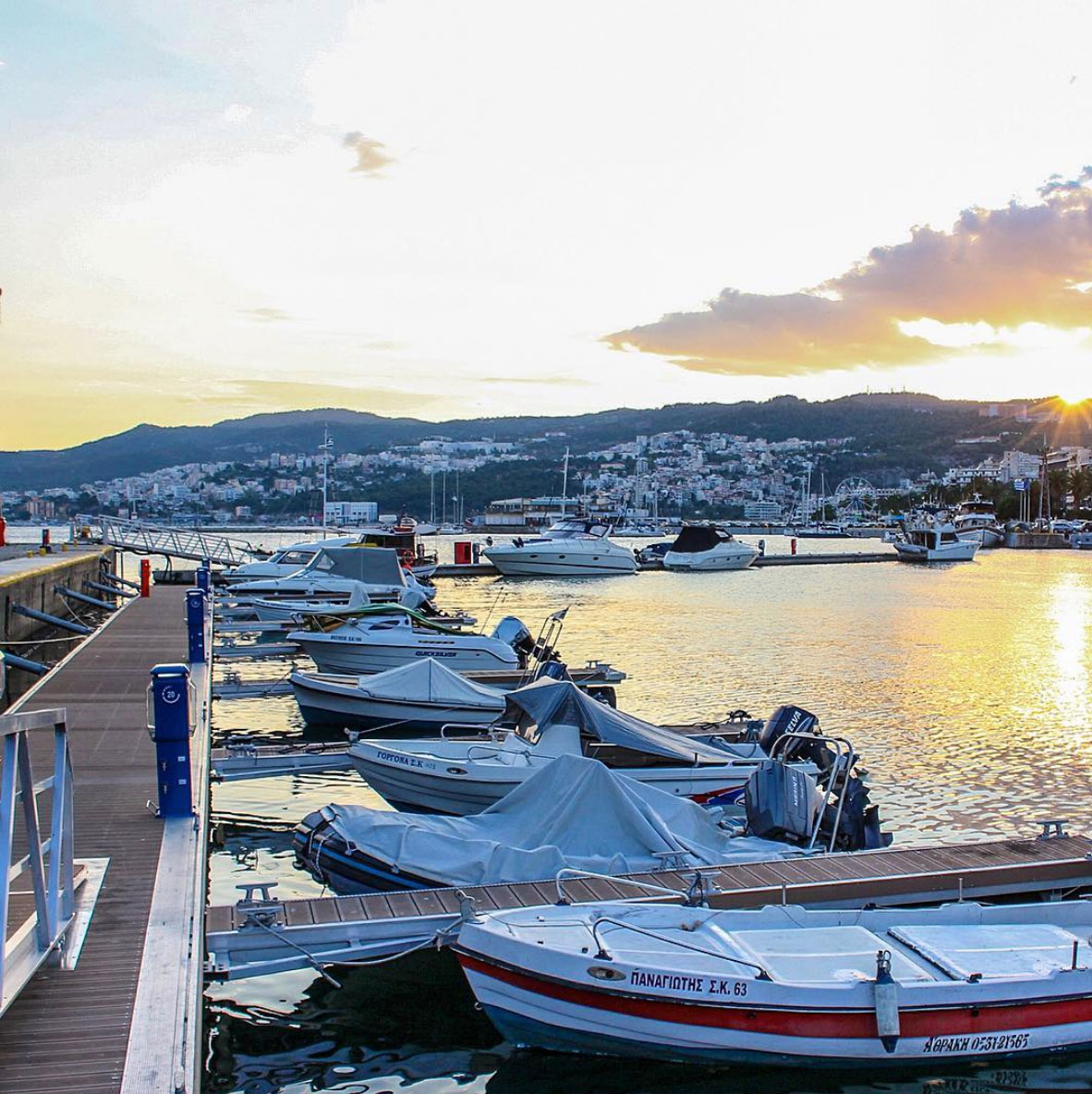 Sunset at the harbor in City of Drama, Greece