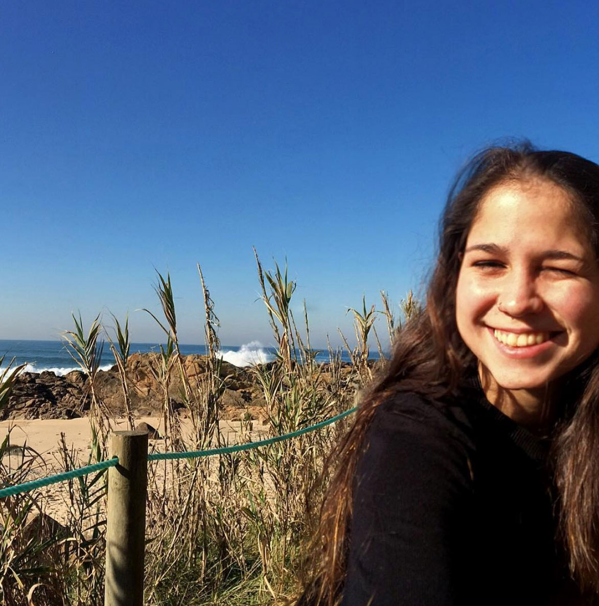 Selfie Panoramic with the ocean and the nature in San Paio, Portugal