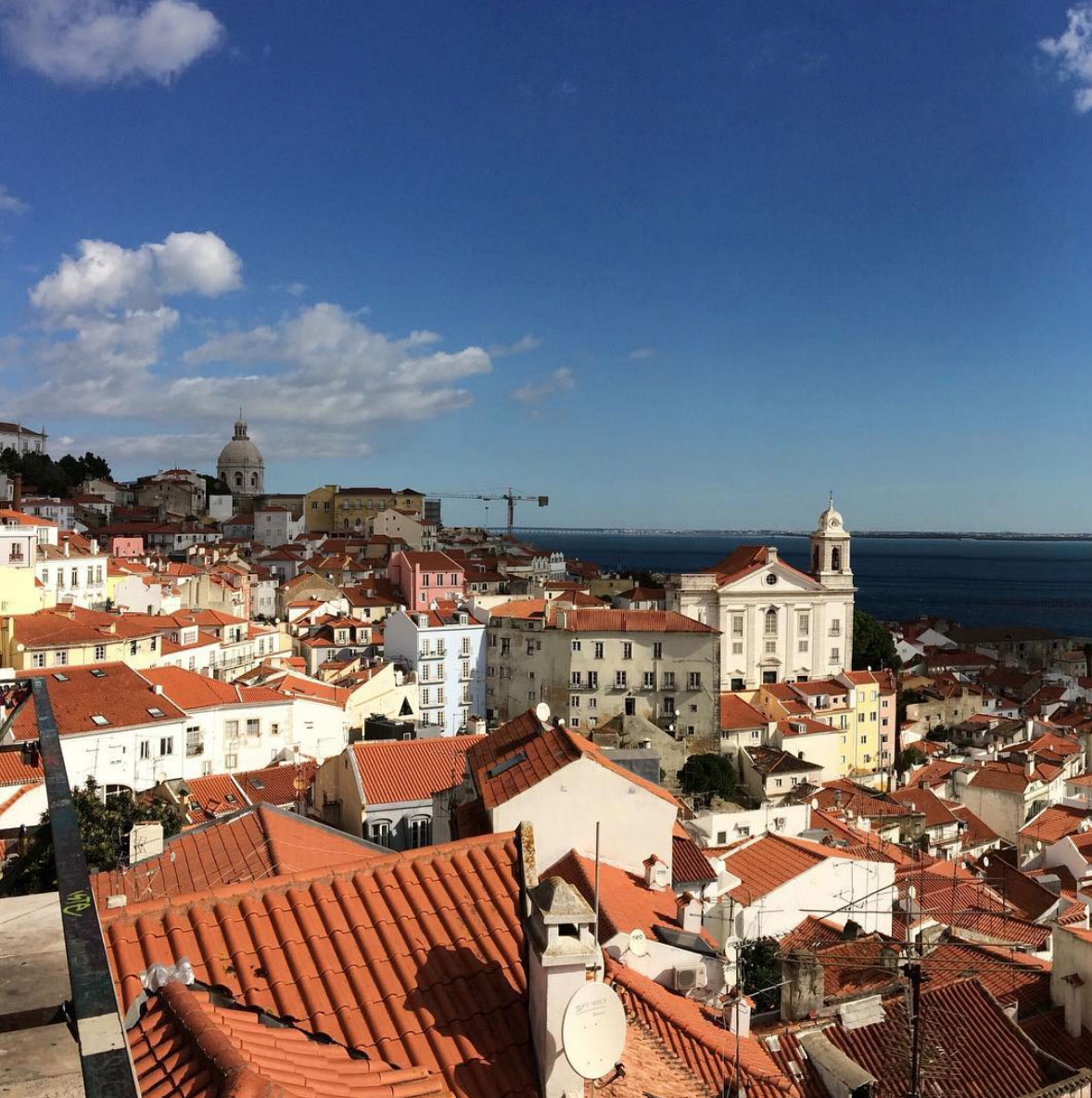 Panoramic view of Lisbon from the top