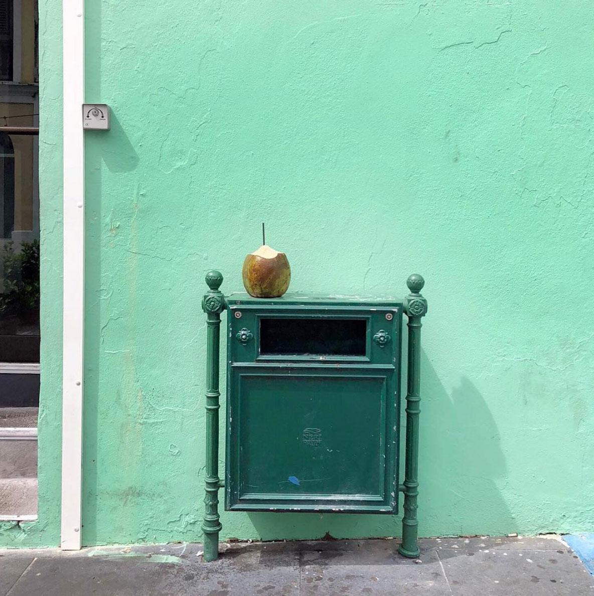 Coconut on a trash can, San Juan, Puerto Rico