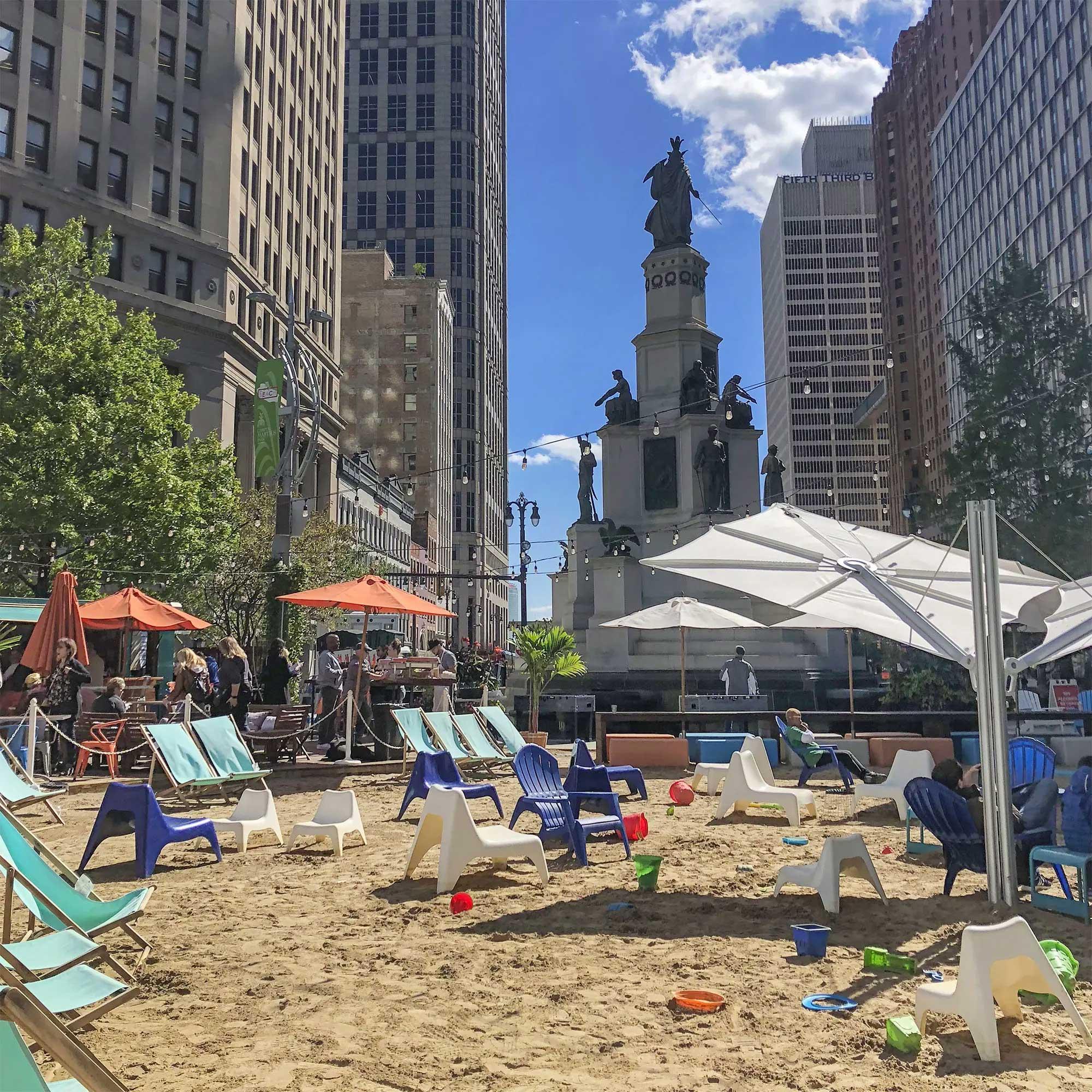 The urban beach in Downtown Detroit
