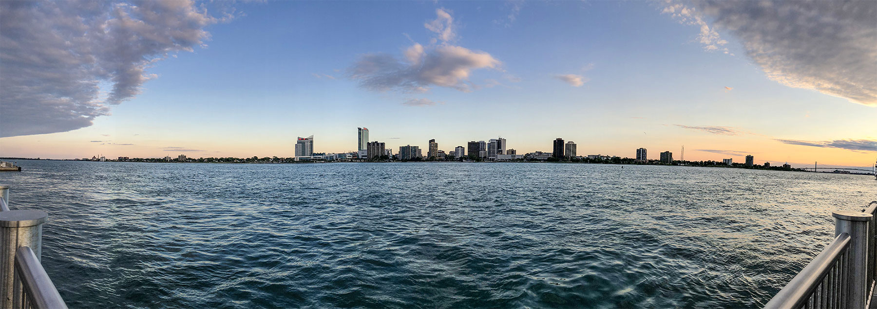 Panoramic of Detroit Riverfront at sunset