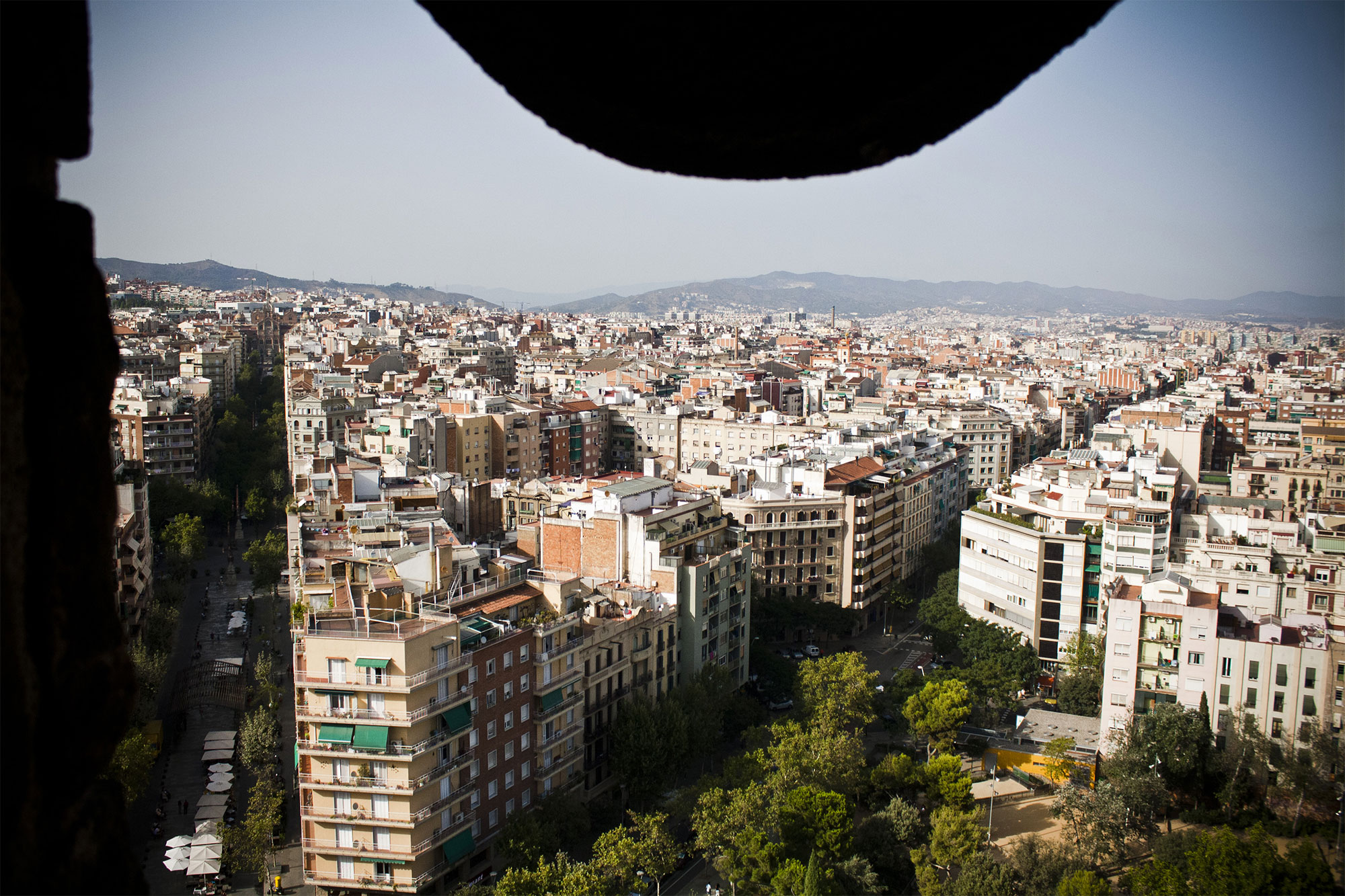 Panoramic view of Barcelona from one of the towers of La Sagrada Familia