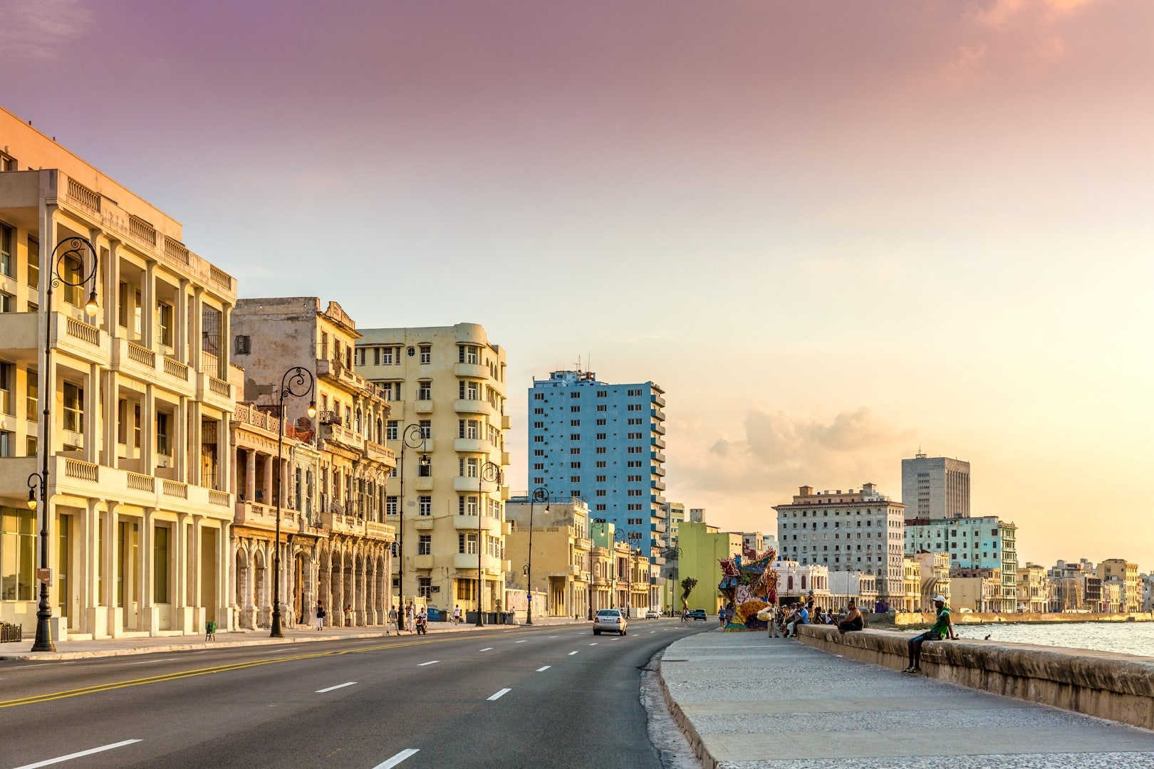 El Malecon in Havana, Cuba at sunset
