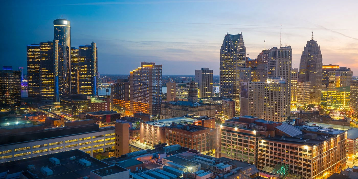 Downtown of Detroit, United States