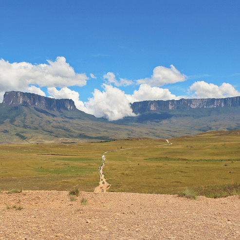 Canaima with mount roraima and mount kukenan in venezuela