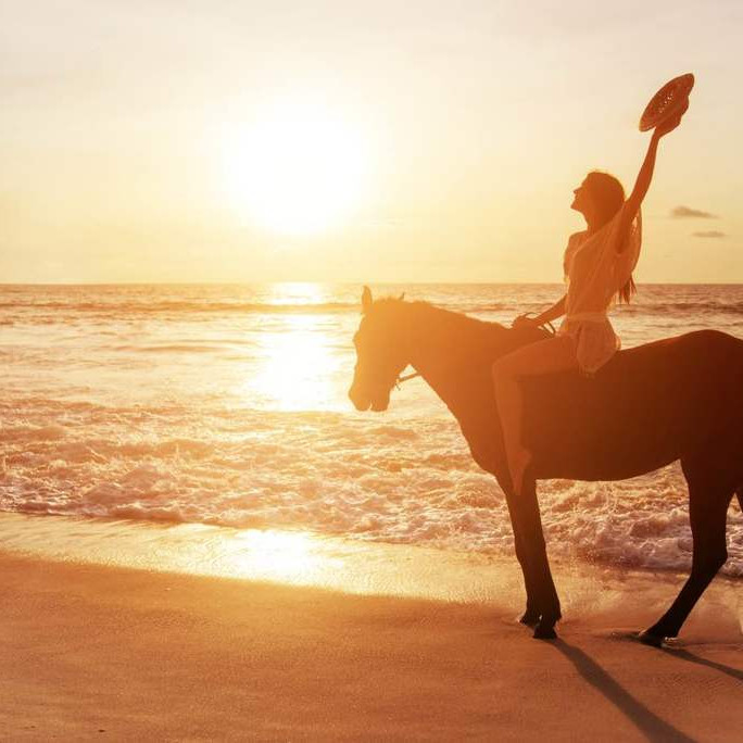 Riding a horse by the beach in the caribbean