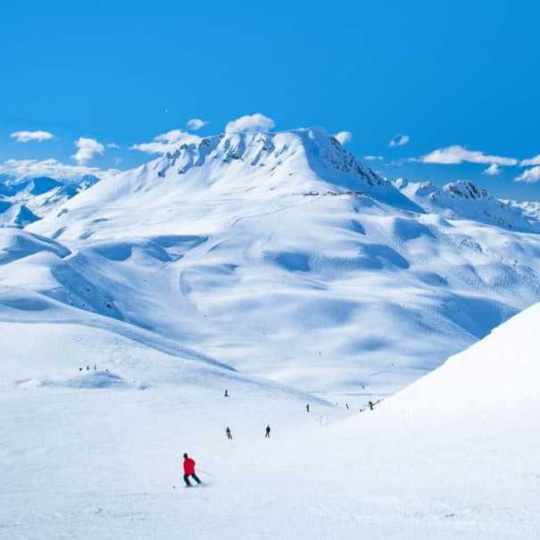 Skiing on the french alps