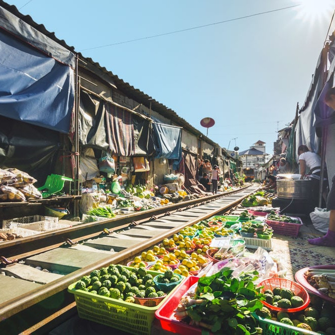 Street railway market thailand asia travel guide